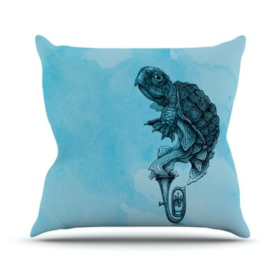 Turtle Tuba by Graham Curran Outdoor Throw Pillow Color: Multi