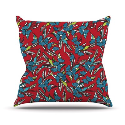 Paper Leaf Outdoor Throw Pillow Color: Red