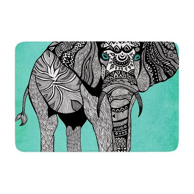 Elephant of Namibia by Pom Graphic Design Bath Mat Color: Black/Blue