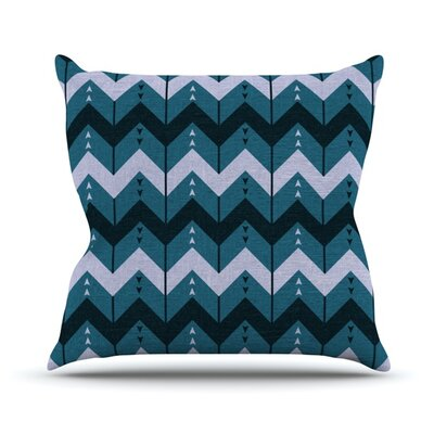 Chevron Dance by Nick Atkinson Outdoor Throw Pillow Color: Blue