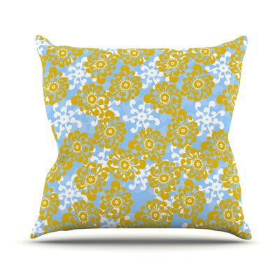 Flowers by Nandita Singh Outdoor Throw Pillow Color: Blue/Yellow