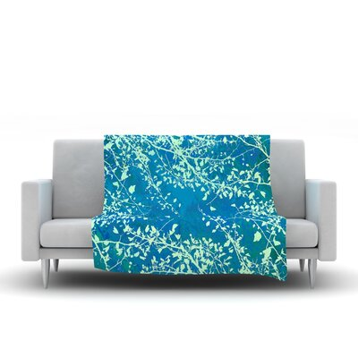 Twigs Silhouette Fleece Throw Blanket Size: 80 L x 60 W, Color: Teal