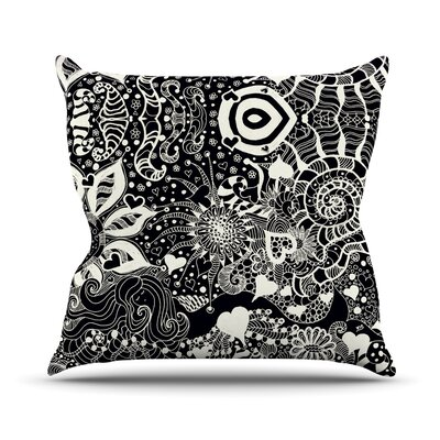 Neptunes Garden by Monika Strigel Outdoor Throw Pillow Color: Black/White