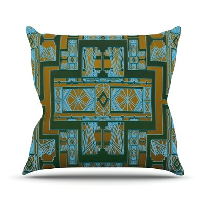 Golden Art Deco Outdoor Throw Pillow Color: Green / Blue