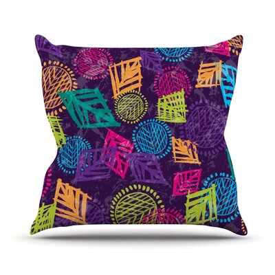 African Beat Outdoor Throw Pillow Color: Purple
