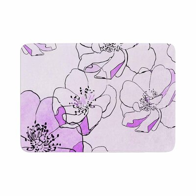 Painted Wild Roses by Alison Coxon Memory Foam Bath Mat Color: Purple