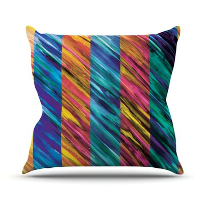 Set Stripes by Theresa Giolzetti Outdoor Throw Pillow Color: Pink/Blue