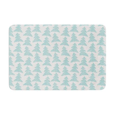 Herringbone Forest by Michelle Drew Bath Mat Color: Teal