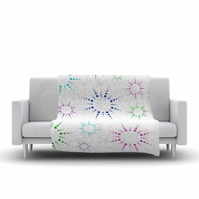 Rainbow Fireworks Fleece Throw Blanket Size: 80 L x 60 W, Color: White