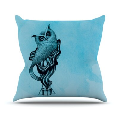 Owl by Graham Curran Outdoor Throw Pillow Color: Teal