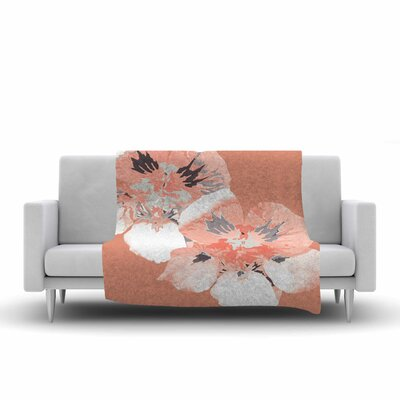 Graphic Flower Nasturtium Fleece Throw Blanket Size: 60 L x 50 W, Color: Coral