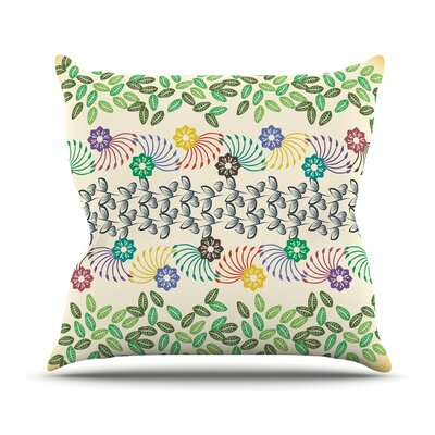Flowers and Leaves Pattern by Famenxt Throw Pillow Size: 18