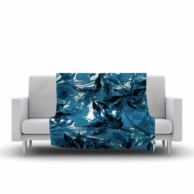 Floral Fiesta Fleece Throw Blanket Size: 90 L x 90 W, Color: Blue