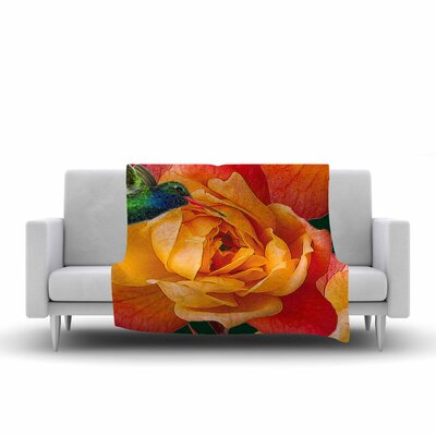 Roses in Hummingbird Fleece Throw Blanket Size: 90 L x 90 W