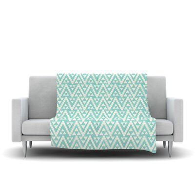 Geo Tribal by Amanda Lane Fleece Throw Blanket Size: 40 L x 30 W, Color: Turquoise