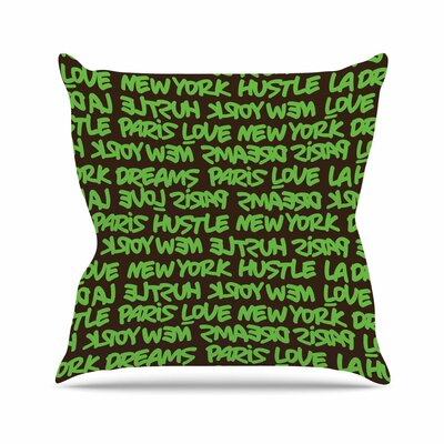 Lux Writing Throw Pillow Color: Green / Brown, Size: 16 H x 16 W x 6 D