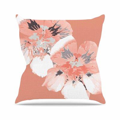Graphic Flower Nasturtium Throw Pillow Color: Coral, Size: 26 H x 26 W x 7 D