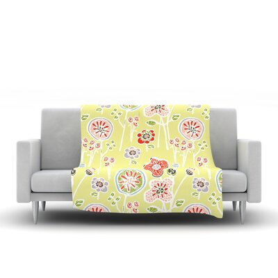Folky Floral Fleece Throw Blanket Size: 40 L x 30 W, Color: Lemon