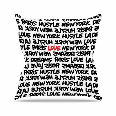 Lux Writing Throw Pillow Size: 20 H x 20 W x 7 D, Color: White / Black / Red