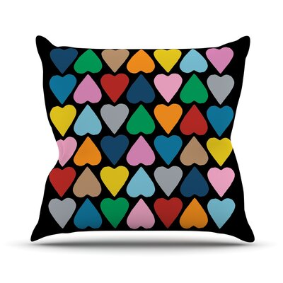 Up and Down Hearts Outdoor Throw Pillow Color: Black / Multi