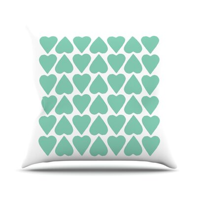 Up and Down Hearts Outdoor Throw Pillow Color: Mint / White