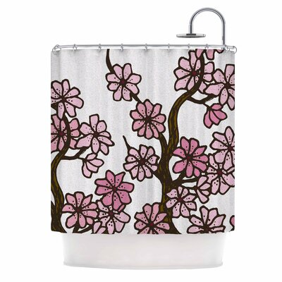Cherry Blossom Day by Art Love Passion Floral Illustration Shower Curtain Color: White/ Pink