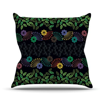 Dark Jungle Pattern by Famenxt Throw Pillow Size: 16 H x 16 W x 3 D
