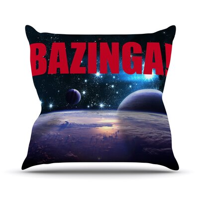 Bazinga Outdoor Throw Pillow Color: Red