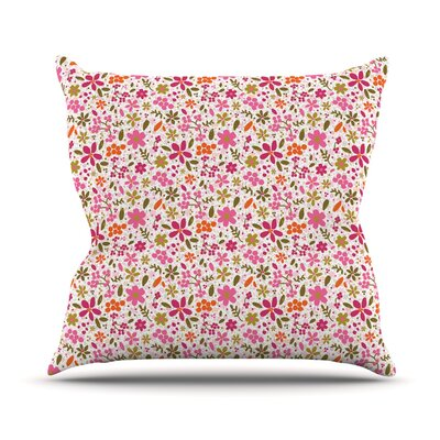 Flowers Garden by Carolyn Greifeld Throw Pillow Size: 16 H x 16 W x 3 D