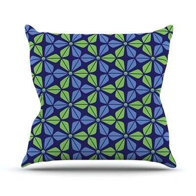 Infinite Flowers by Nick Atkinson Outdoor Throw Pillow Color: Blue