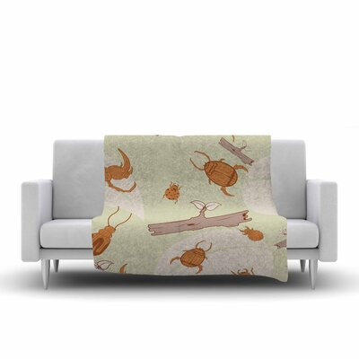 Beetles Fleece Throw Blanket Size: 60 L x 50 W