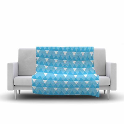 Triangles by Jackie Rose Fleece Blanket Color: Cyan