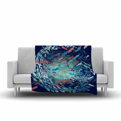 Underwater Life by Frederic Levy-Hadida Fleece Throw Blanket Size: 80 L x 60 W, Color: Blue