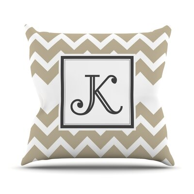 Monogram Chevron Outdoor Throw Pillow Color: Tan