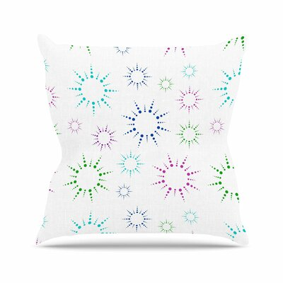 Rainbow Fireworks Throw Pillow Color: White, Size: 26 H x 26 W x 7 D