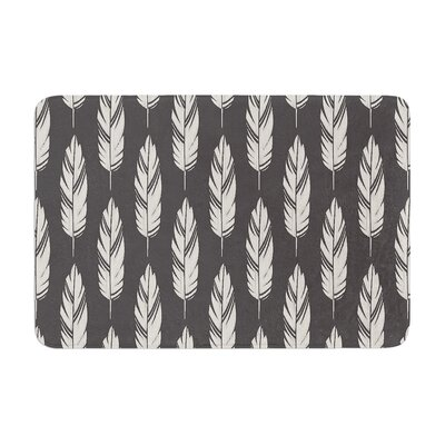 Feathers by Amanda Lane Bath Mat Color: Gray/Cream, Size: 24