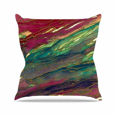 Agate Magic Throw Pillow Color: Bold Red / Aqua, Size: 16 H x 16 W x 6 D