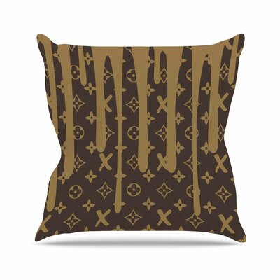 LX Drip Throw Pillow Color: Brown, Size: 16 H x 16 W x 6 D