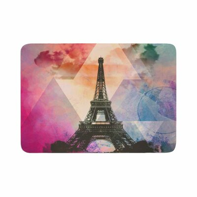 Eiffel Tower by AlyZen Moonshadow Memory Foam Bath Mat Color: Deep Pink