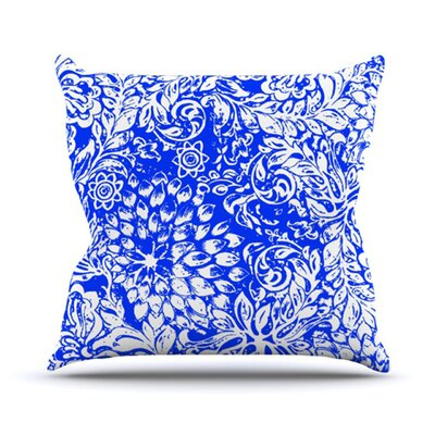 Bloom for You by Vikki Salmela Outdoor Throw Pillow Color: Blue