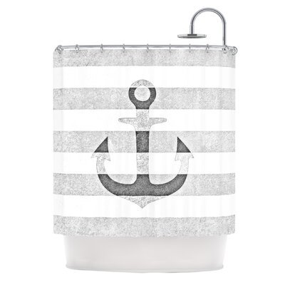 Stone Vintage Anchor by Monika Strigel Shower Curtain Color: White/Gray