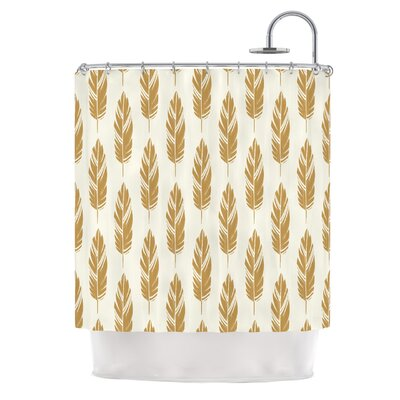 Feathers by Amanda Lane Dark Shower Curtain Color: Mustard