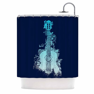 Nature Tune by Frederic Levy-Hadida Music Shower Curtain Color: Navy/ Aqua