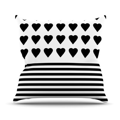 Heart Stripes Outdoor Throw Pillow Color: Black / White