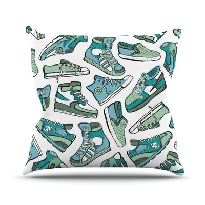 Sneaker Lover by Brienne Jepkema Outdoor Throw Pillow Color: White/Blue