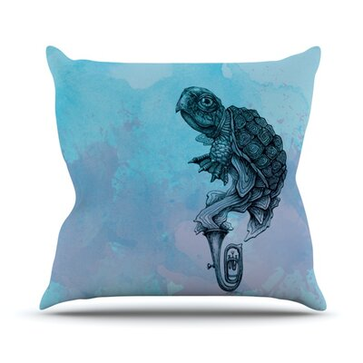 Turtle Tuba by Graham Curran Outdoor Throw Pillow Color: Blue