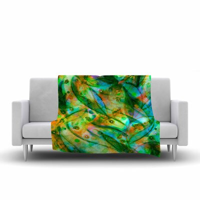 Flourish by Ebi Emporium Fleece Blanket Color: Green