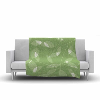 Leaf Tawny by Alison Coxon Fleece Throw Blanket Size: 40 L x 30 W, Color: Olive