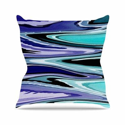 Beach Waves Throw Pillow Size: 16 H x 16 W x 6 D, Color: Blue