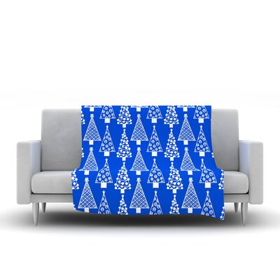 Jolly Trees by Emine Ortega Fleece Throw Blanket Size: 40 L x 30 W, Color: Blue